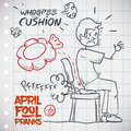 Hilarious whoopee cushion prank vector illustration man unaware of sits on it an gets embarrassed classic for april fools day draw Stock Photography