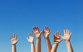 Hildren hands raised up Royalty Free Stock Image