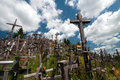 Hill of crosses close up shot in the a famous site pilgrimage in northern lithuania Stock Photos
