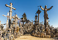 Hill of crosses the the is one the most important pilgrimage sights the baltic region the site located near the town Stock Images