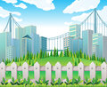 A hill with many pine trees near the tall buildings illustration of Stock Images