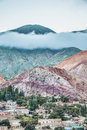 Hill of seven colors in jujuy argentina cerro de los siete colores the behind purmamarca village the colourful valley quebrada de Royalty Free Stock Photo