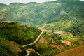 From hill to hill at ha giang mountain field in north vietnam Stock Photography