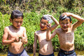 Hill tribe children playing at river in cat cat village sapa vietnam feb Stock Photo