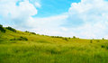 Hills and green field against a beautiful sky against a beautiful sky Royalty Free Stock Photography
