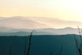 Hills in haze and the evening Royalty Free Stock Images