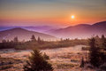 Hills in morning haze and sunrise krkonose poland Stock Images