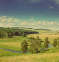 Hills summer landscape - vintage retro style Royalty Free Stock Photography
