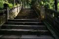 Hillside shady steps with balustrades on sunny day chengdu china Royalty Free Stock Photography
