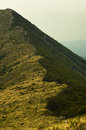 Hillside with trekking path to Trem peak at Suva Planina mountain Royalty Free Stock Photo