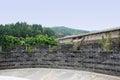 Hillside viewing platform with grey brick parapet near dam hillsdie gray a chengdu china Royalty Free Stock Photos