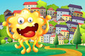 A hilltop across the tall buildings with a happy yellow monster illustration of Royalty Free Stock Photography