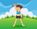 A hilltop with a girl exercising illustration of Stock Photo