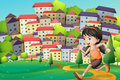 A hilltop with a girl running across the buildings illustration of Royalty Free Stock Photo