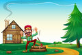 A hilltop with a happy lumberjack cheering illustration of Stock Image