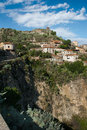 Hilltop town typical mediterranean scene ws a in sicily and architecture savoca Royalty Free Stock Images