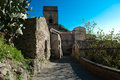 Hilltop town typical mediterranean scene ws a in sicily and architecture savoca Royalty Free Stock Photography