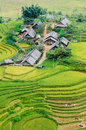 Hilltop village muong hoa valley terraced fields sa pa town v vietnam Royalty Free Stock Photo