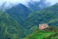 Hilltop village muong hoa valley terraced fields sa pa town vietnam Stock Image