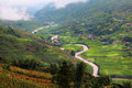 Hilltop village muong hoa valley terraced fields sa pa town vietnam Stock Photos