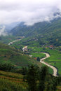 Hilltop village muong hoa valley terraced fields sa pa town vietnam Royalty Free Stock Photo