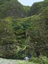 Hilly azores landscape overgrown rock formation at sao miguel island the biggest island of the archipelago a group of vulcanic Stock Photography