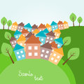 Hilly landscape with houses illustration of spring Royalty Free Stock Photography