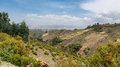 The hilly landscapes of ethiopia near wonchi creator lake area Stock Photos