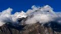 Himalaya high mountain landscape panorama with snow cup at dawn india himachal pradesh keylong village Royalty Free Stock Image