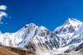 Himalaya mountain peaks autumn landscape beautiful and khumbu glacier with everest base camp khumbutse m and changtse m in everest Royalty Free Stock Images