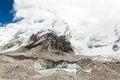 Himalaya mountains melting glaciers global warming climate chang himalayas khumbu glacier lake ice on change and ecology concept Stock Photos