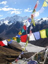 Himalaya pray flags colorful with in the background Royalty Free Stock Image
