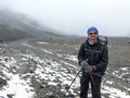 Himalayan expedition - Snowy weather on way to Thorong La Pass, Nepal Royalty Free Stock Photo