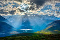 Himalayan landscape with himalayas mountains valley sun rays come through clouds himachal pradesh india Royalty Free Stock Image