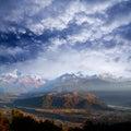 Himalayan mountains from Sarangkot, Pokhara, Nepal Royalty Free Stock Photo