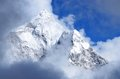 Himalayan peaks in clouds nepal everest region asia Stock Photo