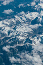 The himalayas aerial view of from airplane Stock Photo