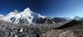 Himalayas panoramic view of mount everest lhotse and nuptse photo has been taken december from kala patthar kala patthar meaning Royalty Free Stock Photography