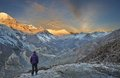 Himalayas trekking around the annapurna nepal Royalty Free Stock Image