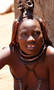 Himba woman with ornaments on the neck in the village namibia kamanjab october tribe of people near kamanjab northern Royalty Free Stock Image
