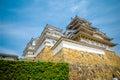 Himeji Castle with blue sky