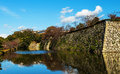 Himeji castle fortress with reflection