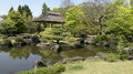 Himeji garden with pond in japan view of castle Royalty Free Stock Photo