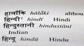 Hindi in hindi dictionary the word the language its devanagari script an english translation Royalty Free Stock Images