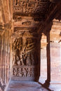 Hindu cave temple figures and columns Royalty Free Stock Images