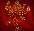 Hindu deity lord Shiva on a sparkling red background