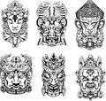 Hindu deity masks set of black and white vector illustrations Stock Photo