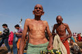 A hindu devotee come to take holy bath at kumbh mela looks as he on february in allahabad india is considered as the Royalty Free Stock Images