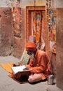 Hindu devotee reads and reciting sacred texts benares varanasi uttar pradesh india february Royalty Free Stock Photography