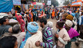 Hindu devotees qued up for food at transit camp babughat kolkata west bengal india th january in winter morning babughat kolkata Stock Photo
